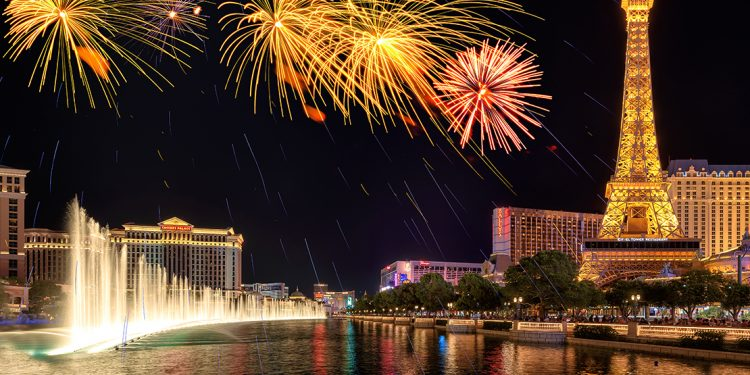 Fireworks over the Las Vegas strip