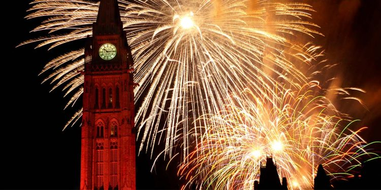 Fireworks behind Parliament tower: a huge clock tower.