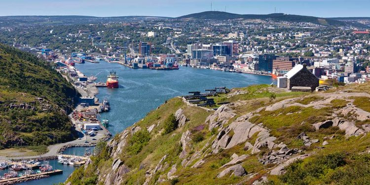 Hill overlooking the harbor in St. John's.