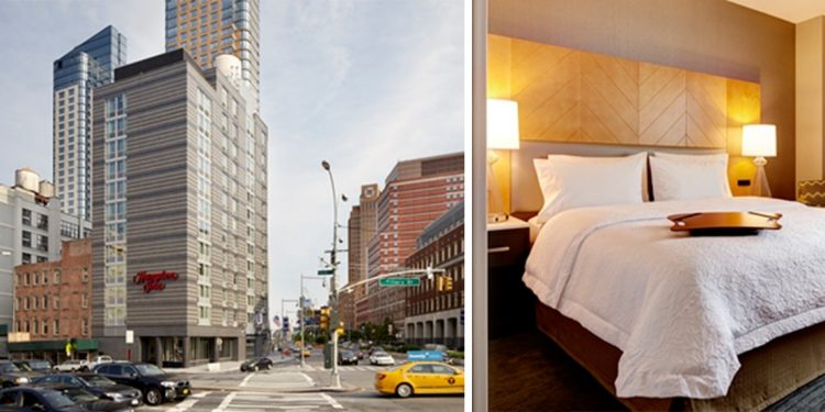Split screen: exterior of the Hampton, a tall grey building. A white bed in the hotel room with a gold headboard.
