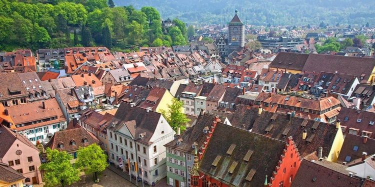 View from above of the rooftops of Freiburg.