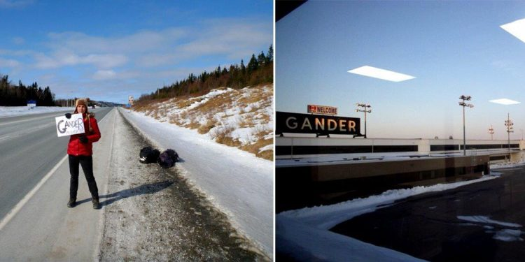 Splitscreen of woman in red jacket hitchhiking at side of the road with sign for Gander and view of the Gander airport.