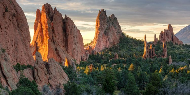 Rocky sandstone edifices in the Garden of the Gods