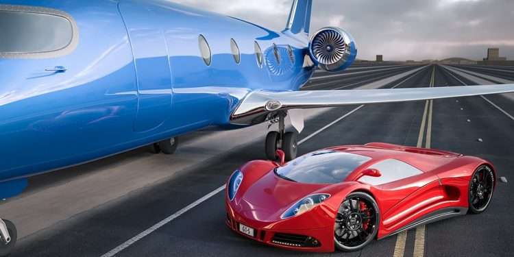 A red Porsche parked beside a blue jet on a runway.