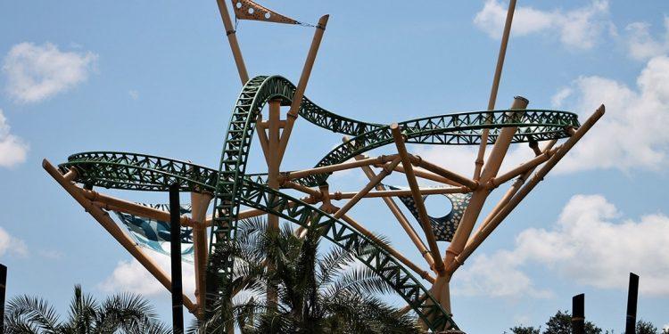 A roller coaster at Busch Gardens, the track twisting around itself.