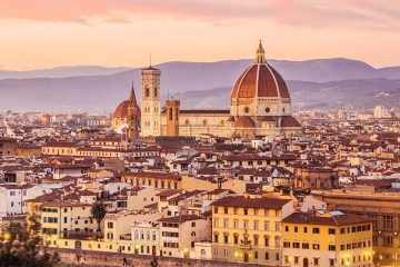 The city of Florence at sunrise.