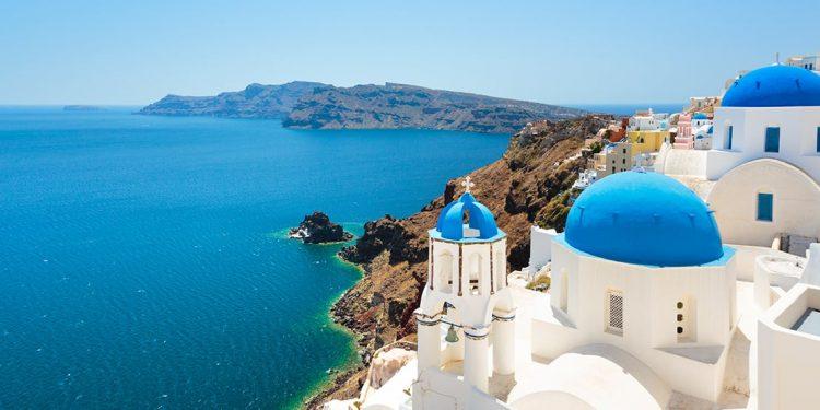 Greek-style building overlooking the ocean