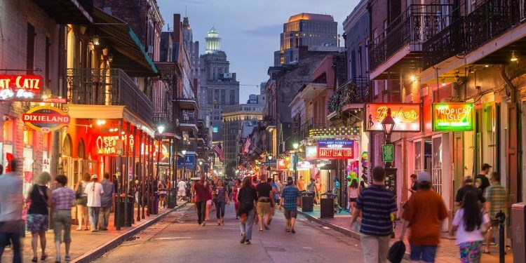 Pubs and bars with neon lights in the French Quarter, downtown New Orleans