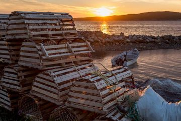 Lobster traps stacked near the shore.