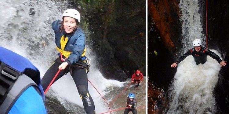 Splitscreen: woman (left) rappelling down a water fall and man (right) standing in a waist deep bubbling water.
