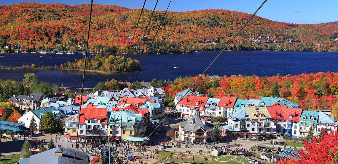 aerial view of Club Tremblant resort in autumn