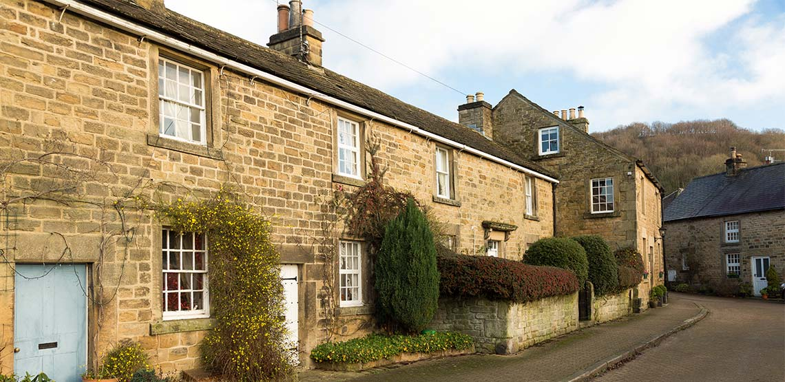 View of a stone built cottage in Derbyshire