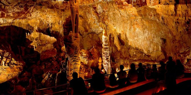People sitting in front of lit up cave walls