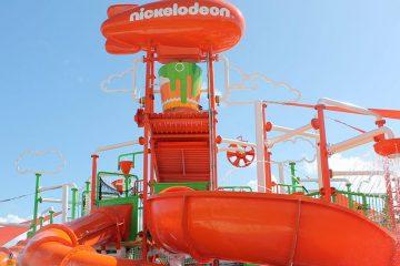 Orange slide and water park