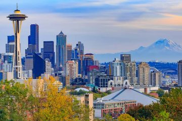 Seattle cityscape with mountain in background.