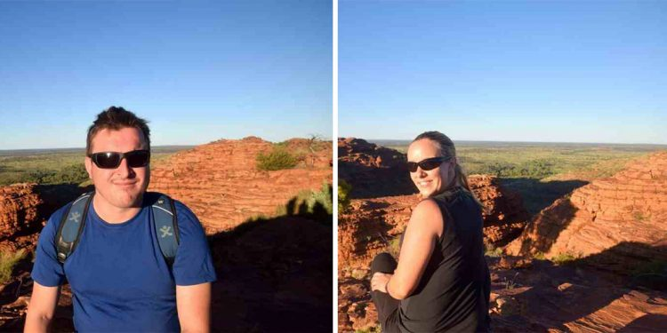 Splitscreen: man (left) and woman (right) sitting on edge of cliff with red rocks in background.