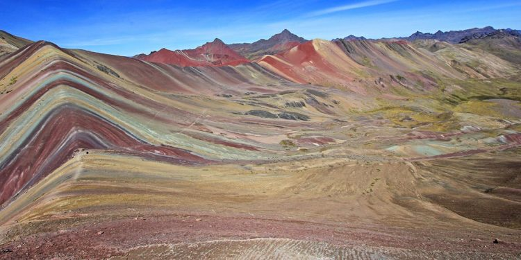 coloured rainbow mountain in Peru