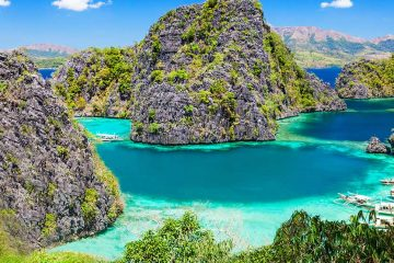 A green lagoon near Coron Island in the Philippines