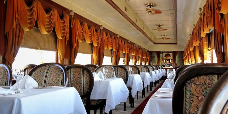 Dining car on a train