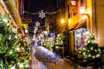 A view of the Petit Champlain street in downtown Quebec City during a near-Christmas night