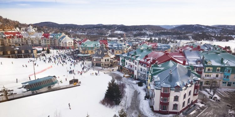 Aerial view of winter resort at Mont Tremblant, Quebec, Canada