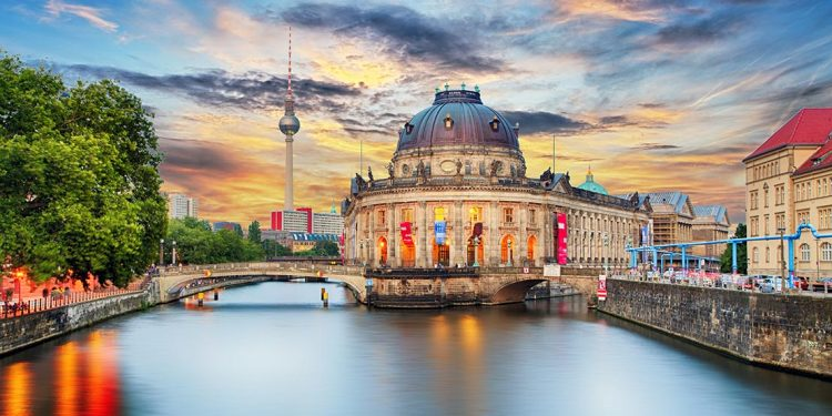Museum Island at the crossroad of a river.
