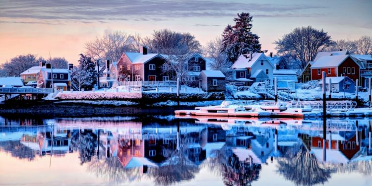 Snowy view of New England town