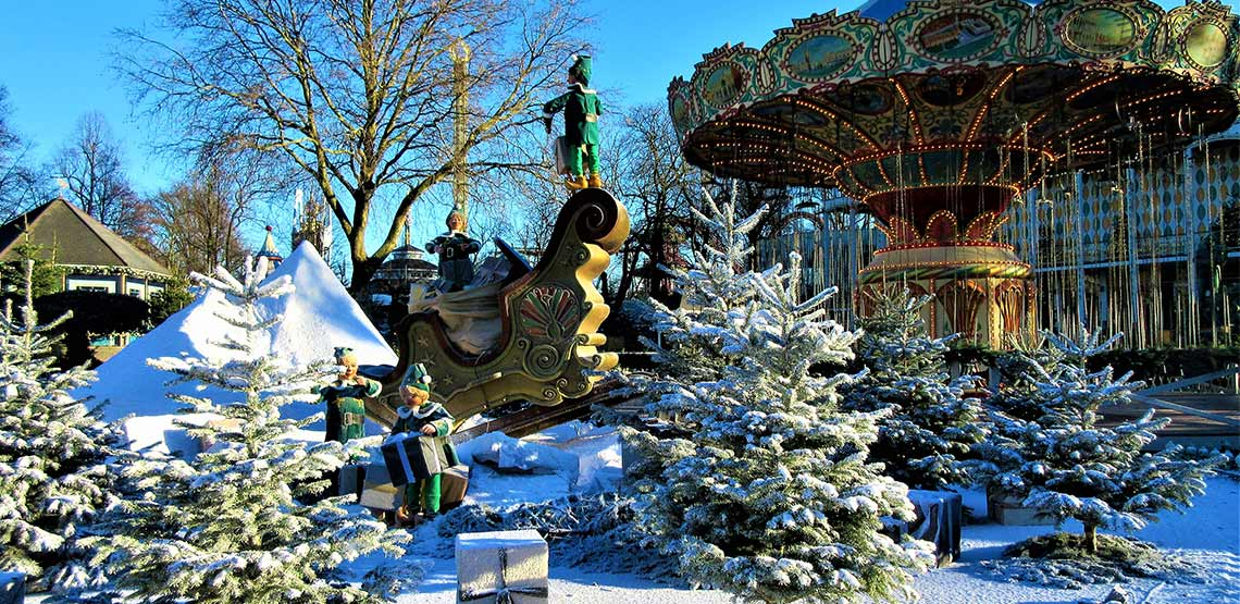 Carousel and winter scene.