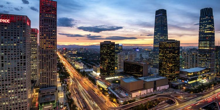 Cityscape of Beijing at dusk.