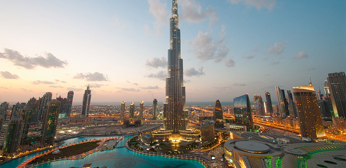 Cityscape of Dubai with Burj Khalifa front and center.