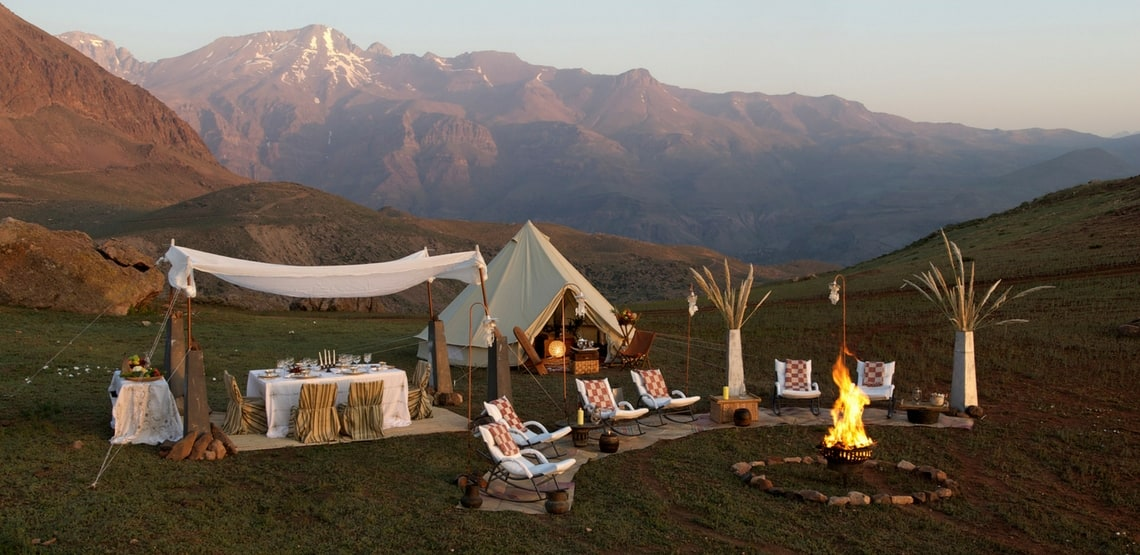Glamping campsite in a beautiful mountain location