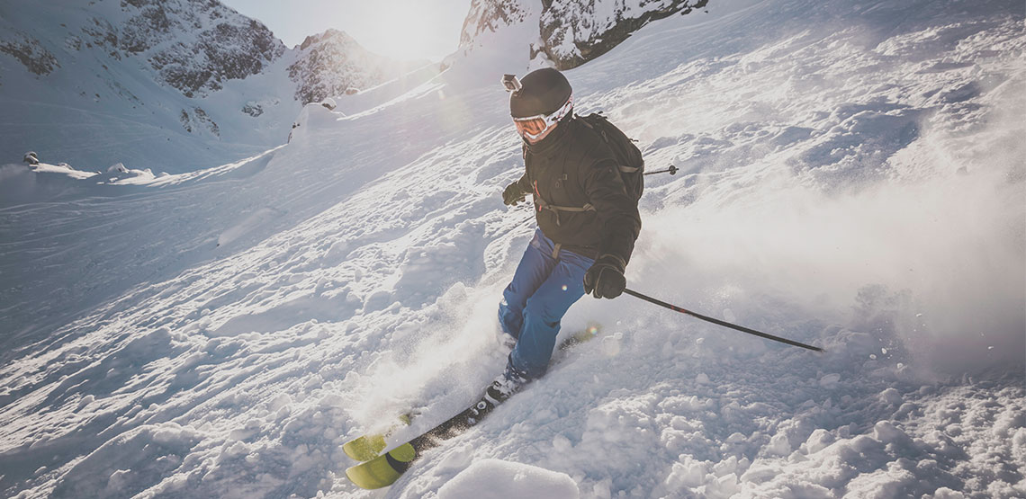 Skier with GoPro on his head helmet.