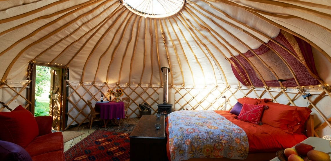 interior of a yurt, another option for glamping