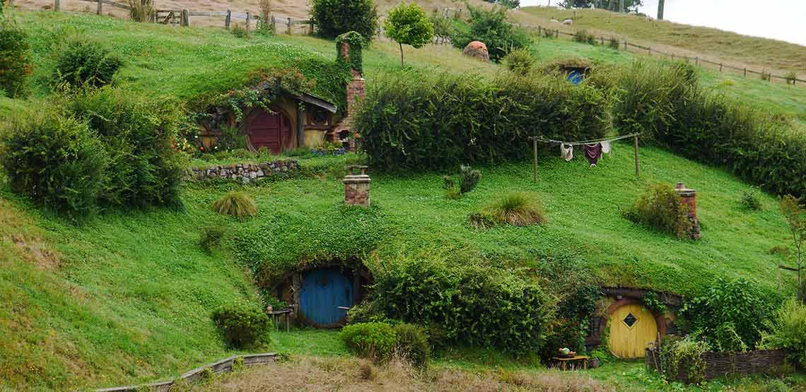 Hobbit holes set in hillside
