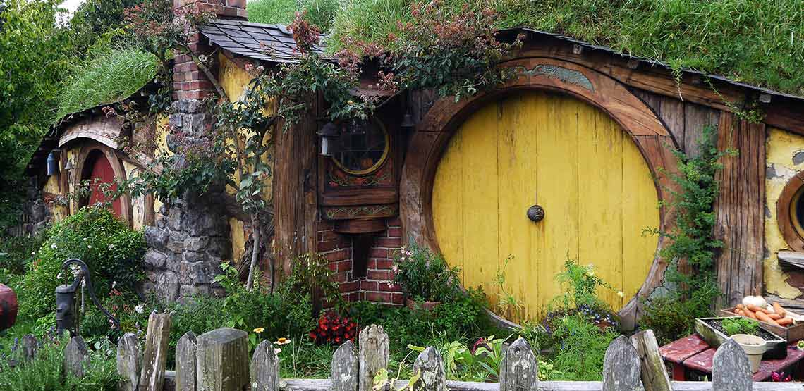 Yellow door of hobbit hole