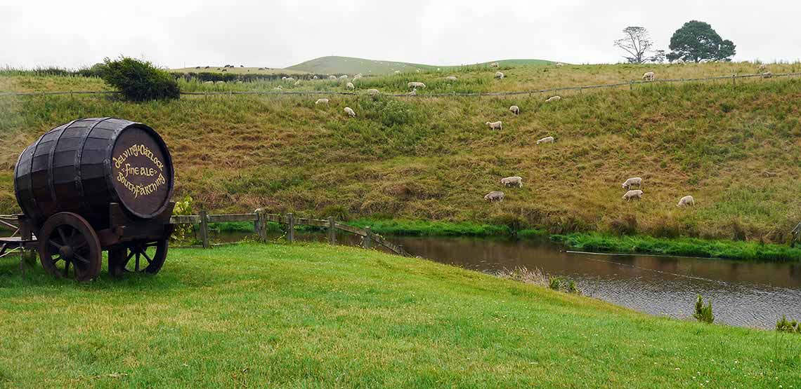 Sheep on hillside by river
