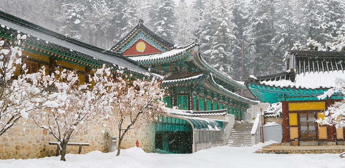 Odaesan Woljeongsa temple in the wintertime.