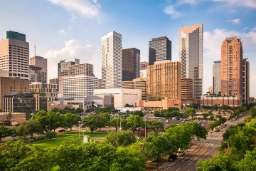 Downtown Houston, tall buildings and busy streets