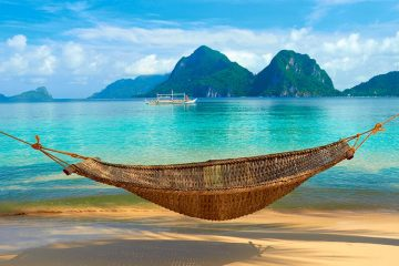 Hammock on a beach in the Philippines