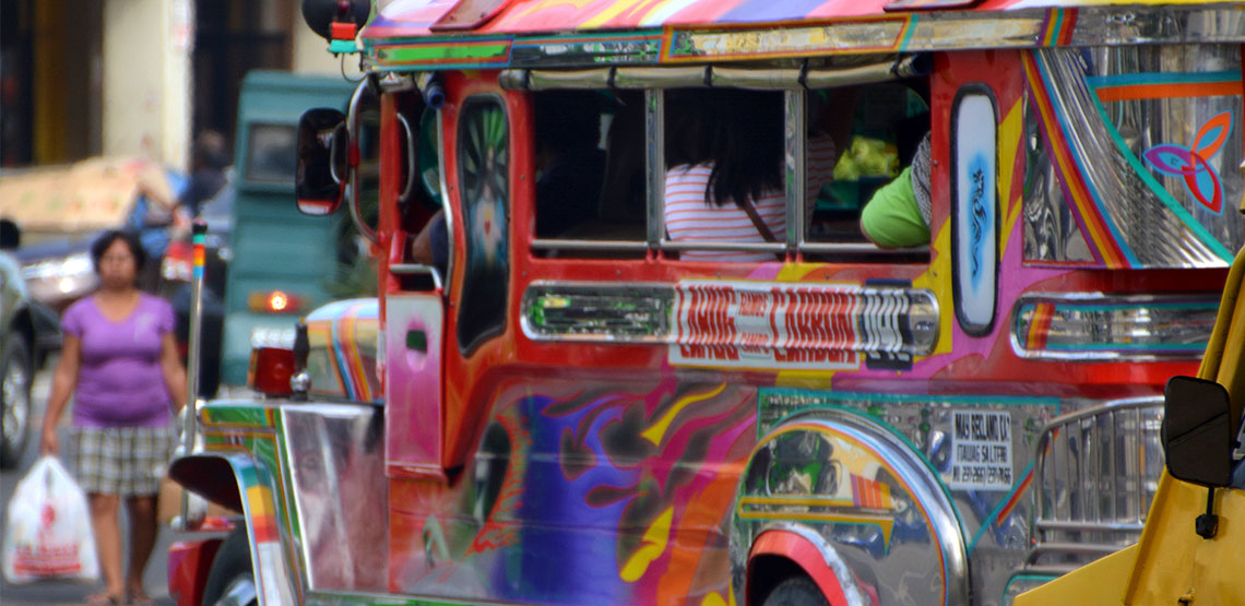 Colorfully painted jeepney in the Philippines.
