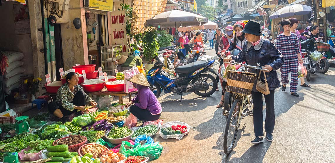 Street market in Hanoi, Vietnam