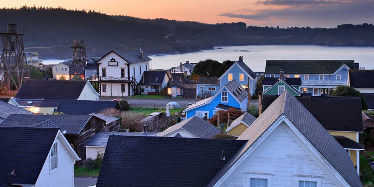 The village of Mendocino along the coast.