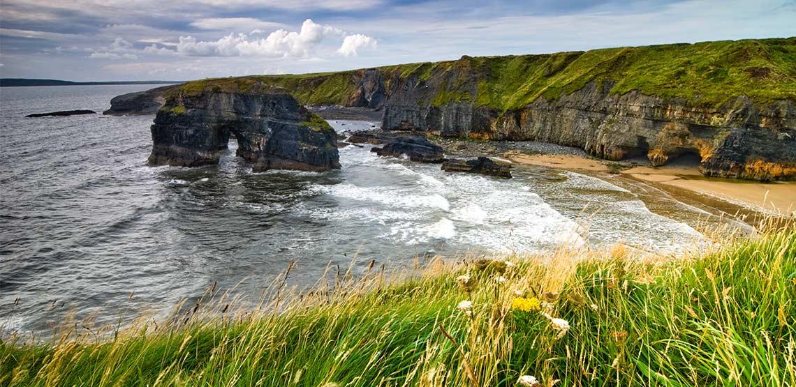 Rocky cliffs along coast of Ireland
