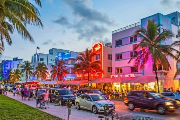 Strip of hotels along the beach in South Beach