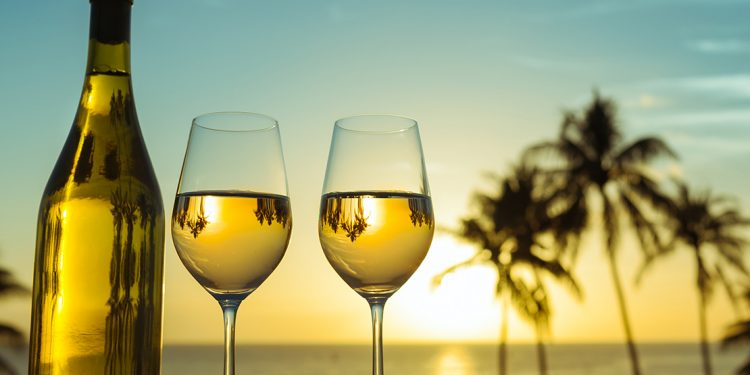 Bottle of wine and two glasses with ocean and palm trees in background