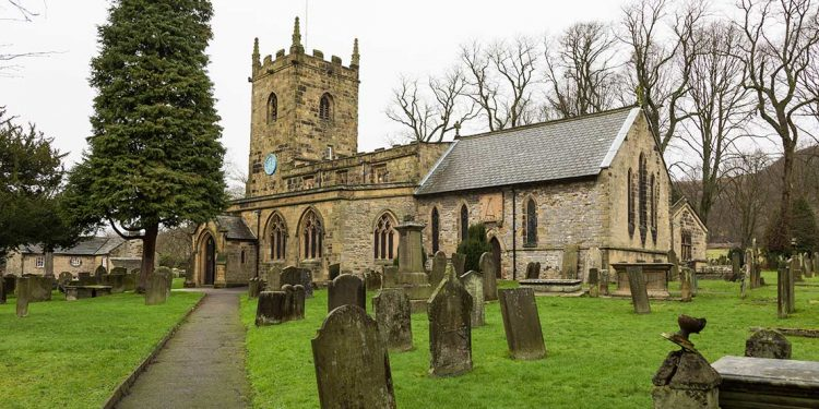 Cemetery and church in Eyam, Derbyshire