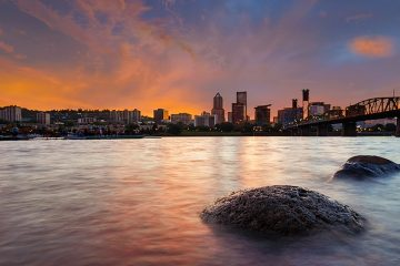 Portland skyline over the river