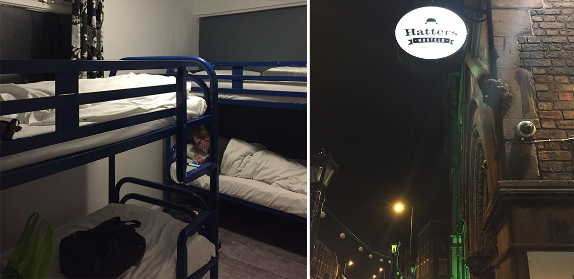 Left: inside hostel with bunkbeds. Right: Outside of hostel
