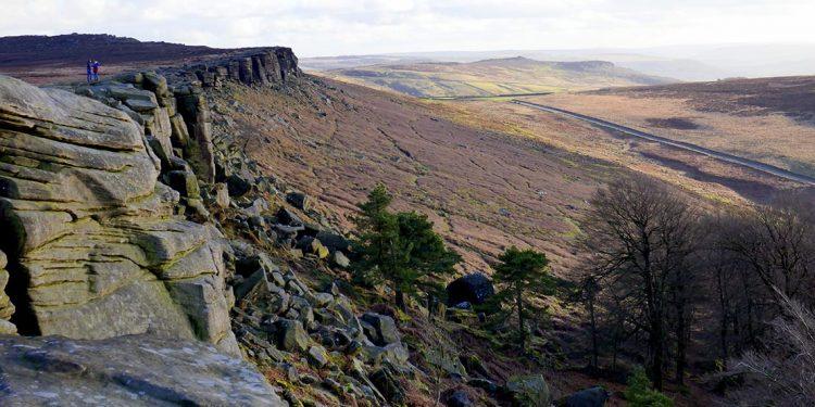 Cliff edge overlooking valley