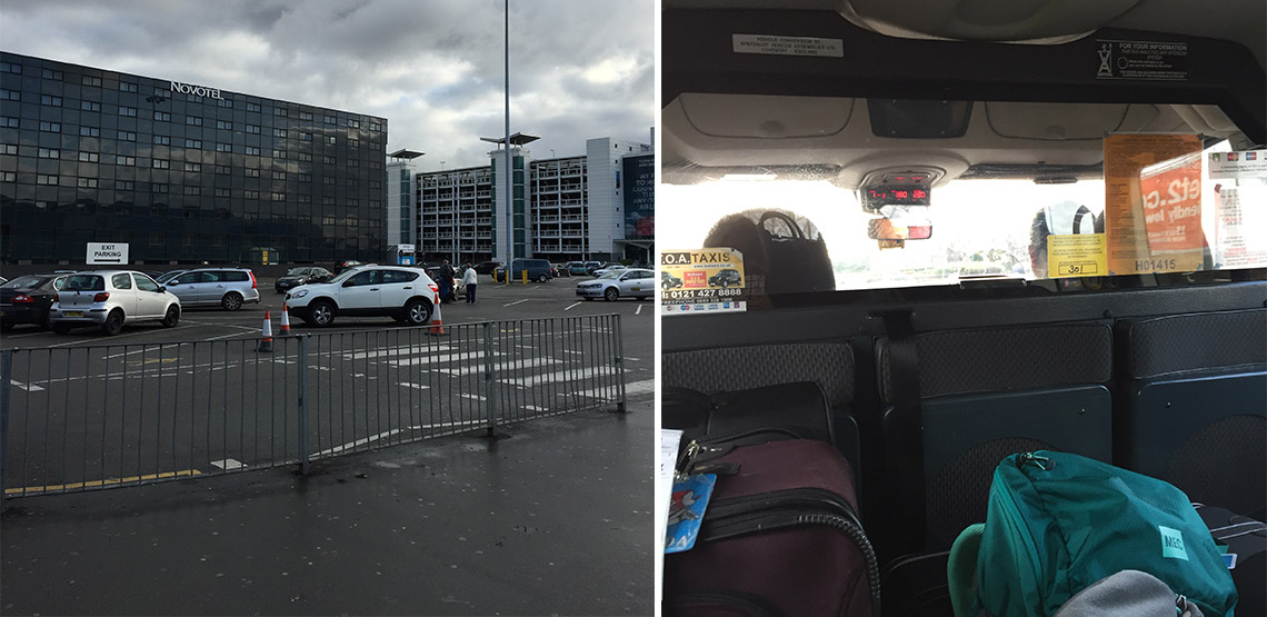 Left: parking lot in England. Right: Back of taxi